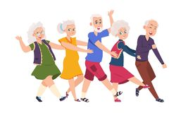 Old people dancing. Diverse elderly cartoon characters dancing a conga line, happy funny persons. Vector active