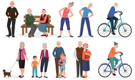 Old people in different activities situations collectoion. Grandparents couples set. Royalty Free Stock Images