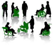 Old people and disable person Stock Image