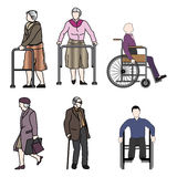 Old people and disabled persons Royalty Free Stock Image