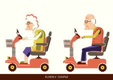 Old people drive by mobility scooter. Pensioners old man and old woman drive mobility scooters.Vector illustration isolated stock illustration