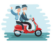 Old people driving scooter vector illustrationg. Vector cartoon illustration of old people driving scooter vector illustration modern old people lifestyle vector illustration