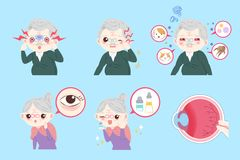 Old people with eye allergy. On the blue background Stock Photos