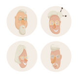 Old people faces set. Cartoon characters. Vector illustration Royalty Free Stock Photography