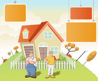 Old people in front of a house Stock Image