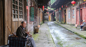The old people in gao miao town,sichuan,china Royalty Free Stock Photo