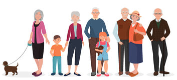 Old people grandparents couples set. Granny with kids and dog. Stock Images