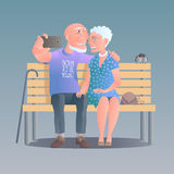 Old people happy and active vector illustration Royalty Free Stock Photos
