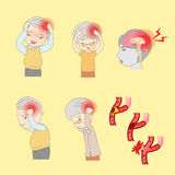 Old people have headache Stock Images