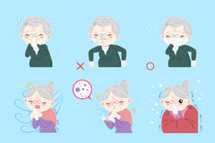 Old people with health concept. On blue background Royalty Free Stock Photography