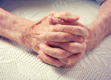 Old people holding hands. Stock Photos