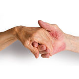 Old people holding hands. Closeup. Royalty Free Stock Photography