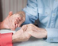 Old people holding hands closeup. Elderly couple. Royalty Free Stock Photography