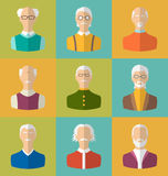 Old people Icons of Faces of Old Men. Grandfathers Characters Stock Photography