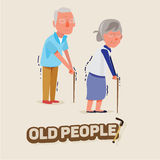 Old people man and women walking with stick. character design. e Royalty Free Stock Image
