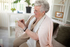 Old people and modern technology Royalty Free Stock Image