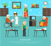 Old People Nursing Home Flat Poster Stock Photos