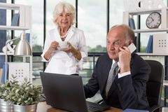 Old people in the office Stock Images