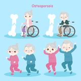 Old people with osteoporosis. On the blue background Stock Photos