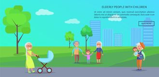 Old People in Park Vector Banner of Mature Couples Royalty Free Stock Image