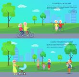 Old People in Park Vector Banner of Mature Couples Royalty Free Stock Photo