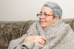 Old people person blanket cold Stock Image