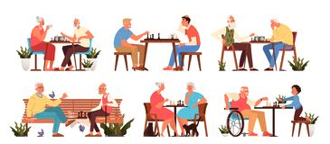 Free Old People Play Chess Set. Elderly Peope Sitting At The Table With Chessboard. Stock Images - 172104294