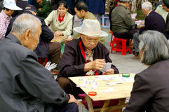 Old people playing games Royalty Free Stock Photos