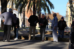 Old people playing Petanque in Barcelona Stock Photo