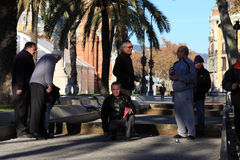 Old people playing Petanque in Barcelona Royalty Free Stock Images