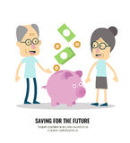 Old people with retirement savings. Royalty Free Stock Photos