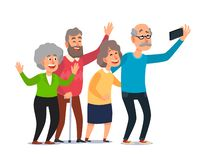 Old people selfie. Senior people taking smartphone photo, happy laughing group of seniors cartoon illustration royalty free illustration