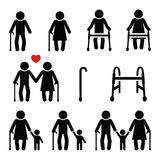 Old people, seniors with walking stick or Zimmer frame, grandparents icons Stock Photo