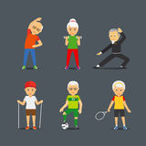 Old people sport lifestyle icons. Old people sport activities. Adults people sport lifestyle icons. Vector illustration Stock Photography