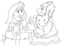 Old people talking. Old man and woman wearing traditional peasant clothes are talking and gesticulating, black-and-white outlined illustration Stock Images