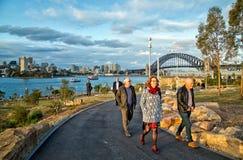 Old people walking in Barangaroo, Sydney Royalty Free Stock Photography