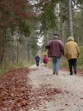 Old People Walking Outdoor Royalty Free Stock Photography