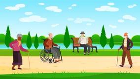 Old people walking park. Outdoors character grandpa grandma walk bench bicycle elderly man woman active pensioner banner vector illustration