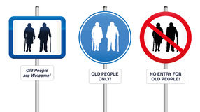 Old People Welcome Road Signs Stock Image