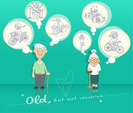 Old people who enjoy life royalty free illustration