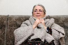 Old people woman sick fever cold Stock Images