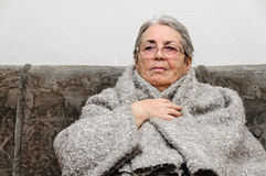 Old people woman warming up portrait Royalty Free Stock Photo