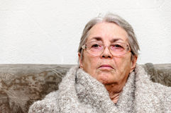 Old people woman warming up portrait Stock Photos