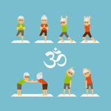 Old people yoga icons Stock Photography