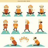 Old people yoga.Vector icons  Royalty Free Stock Image