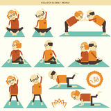 Old people yoga.Vector symbol  on white Stock Photography