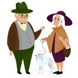 Old peple couple with a dog poodle. Happy grandparents together isolated royalty free illustration