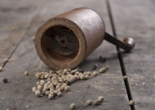 Old Pepper grinder mill with white dried peppers. Close up Stock Photos