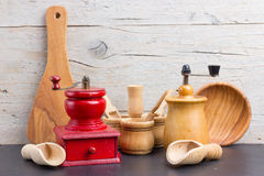 Old pepper mills Stock Photos