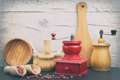 Old pepper mills Stock Image